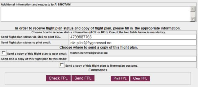 Kontaktinformasjon på nytt reiseplanskjema.