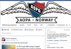 Gruppen for AOPA-medlemmer på Facebook.