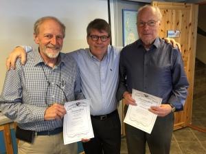F.v. Nils Magne Gi,lje president Torkel Hasle og Paul Davidsen. Foto Tom Røren